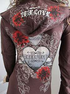 Scrolls Heart True Love Stones Tattoo Hoodie Shirt Ed Hardy Perfume