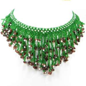 GREEN SEED BEADS GARNET GEMSTONE BEADED NECKLACE N16/8