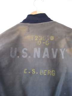 RARE Vintage WWII US Navy Deck Jacket w/ Hook Closures & Stencil 1st
