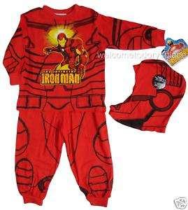 IRON MAN Pajamas Boys 3pc Sleep Set RED 3 Marvel NEW