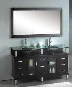 Ariel A 706 Modern Glass Bathroom Vanity & Mirror Set
