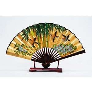 Japanese Folding Fan Gold SENSU Bamboo & Sparrow