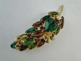 Vintage Figural Leaf Multi Colored Rhinestone Brooch Pin Retro 1950s