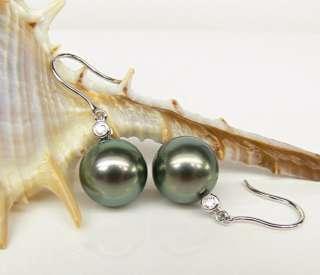 5mm Black Tahitian Pearls Bezel H/SI DIAMOND 14K White GOLD Dangle