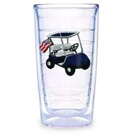 Tervis Tumbler Golf Cart Navy Blue with American Flag 16 oz ind