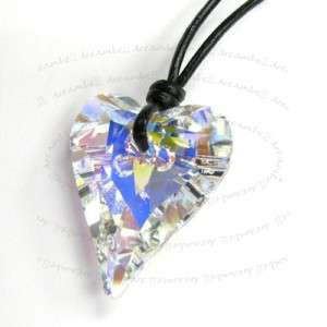 Swarovski Clear Ab Wild Heart Pendant Leather Necklace