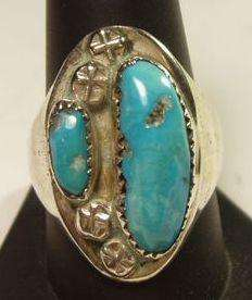 Sterling Silver Turquoise Mens Ring by B. Iule Zuni Native American