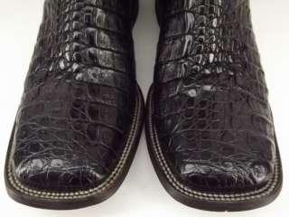 Mens cowboy boots black flank cut caiman Stetson Handmade 12 D western