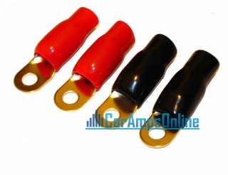 NEW SET FOUR 1/0 GAUGE ZERO AWG GOLD PLATED CAR STEREO RING