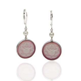 Sterling Silver Pink Agate & Rose Cameo Dangle Earrings