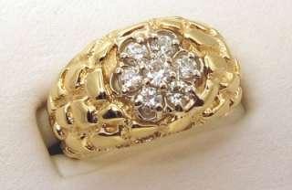 Diamonds 0.50ct VS2 14K Yellow Gold Mans Nugget Ring