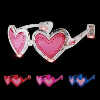 LED Flashing Heart Shaped Sunglasses Light Up Glasses DJ Shades Rave