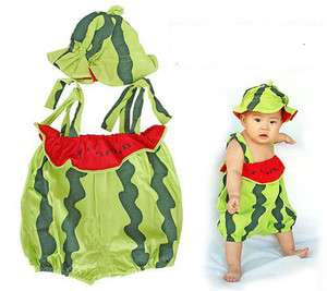 Unique Cute Baby Toddler Watermelon design bodysuit with beanie