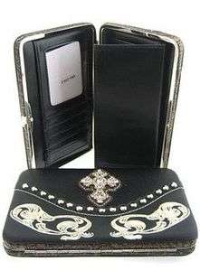 BLACK RHINESTONE CROSS EMBROIDERY WESTERN PURSE FLAT WALLET