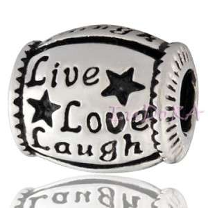 Silver European Bead BIBLE / LIVE LOVE LAUGH / BA JERSEY CHARM