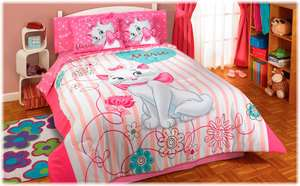 New Girls Pink White Kittie Kitten Cat Marie Comforter Bedding Set