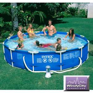 Intex 12 x 30 Metal Frame Above Ground Swimming Pool Set with 530 GPH