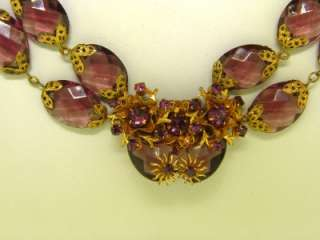 Miriam Haskell Runway Russian Gold Amethyst Glass Bead Crystal