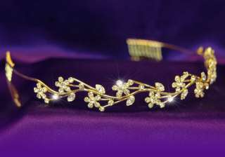 Bridal Wedding Flower Crystal Gold Plated Tiara T1068