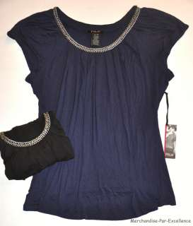 FYLO NY Womens Peasant Shirt Top CHAIN Neck Navy Blue or Black NEW