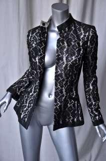 ALEXANDER MCQUEEN Black LEATHER+LACE Jacket Blazer S/40