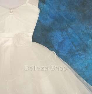 White Wedding Flower Girl Pageant Dress SZ 8 9 FG072