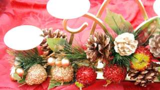 GOLD CANDELABRA with pine cones, fruit & 5 round cream candles