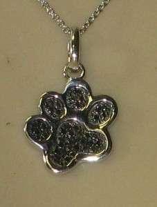 Designer Genuine Black Old Cut Diamond Dog Paw Sterling 18 Inch