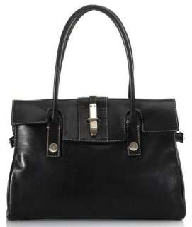 MICHAEL KORS Foldover Black Leather Tote Handbag Purse Shoulder Bag