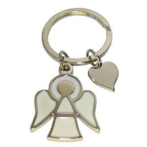 Engel Schlüsselanhänger mit Herz Schutzengel aus Metall Silber