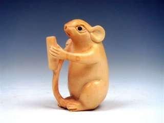 Ship From U.S* Boxwood Hand Carved Netsuke Sculpture Mouse Reading