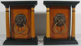 MAITLAND SMITH HAND CRAFTED WOOD & BRONZE PAIR OF LION HEAD