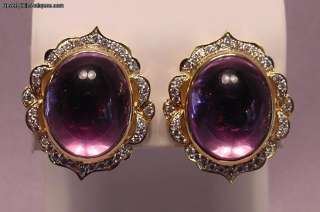 Superb Pair Amethysts 2 Carats Diamonds 18k Gold Designer Made