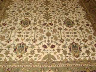9x12 Ivory & Green Fine Plush Hand knotted Wool Persian Oriental Rug