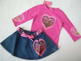 4T Valentines Day OUTFIT Set GiGi Jean Skirt HEARTS Shirt NWT