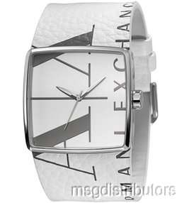 NEW AX ARMANI EXCHANGE AX6000 MENS WHITE LEATHER LOGO WATCH