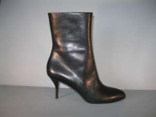 AUTHENTIC GUCCI BLACK LEATHER SHORT BOOTS HEELS NIB NEW 40.5