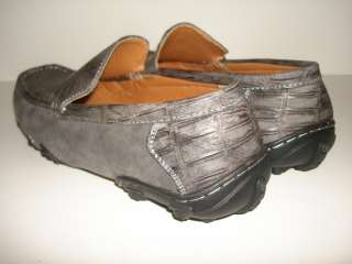 MEN GRAY Alligator Crocodile SUEDE Driving shoe MOCS G1