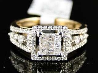 14K LADIES WOMENS YELLOW GOLD PRINCESS CUT DIAMOND ENGAGEMENT RING 1/2
