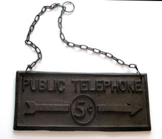 Rustic Public Telephone 5 cents Sign cast iron antique cell plaque
