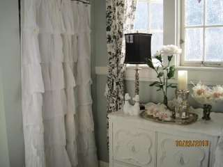 SHABBY COTTAGE BEACH FRENCH CHIC COUNTRY WHITE TIER RUFFLED SHOWER