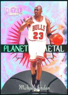 97 98 METAL UNIVERSE PLANET METAL MICHAEL JORDAN #23 JERSEY REFRACTOR