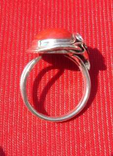 Red Oval Coral 925 Sterling Silver Ring