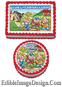THE THREE LITTLE PIGS Birthday Edible Party Cake Image Cupcake Topper