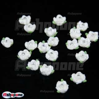 20x White Ceramic Rose Flower Rhinestones For 3D Nail Art Tips