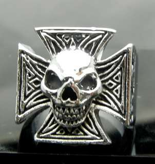 Cross Pewter Ring Size 10 Punk Biker Hard Rock Heavy Metal