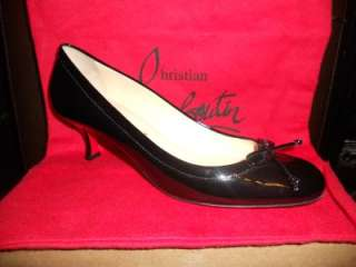 Christian Louboutin MARCIA BALLA Black Patent Kitten Heel Pumps Shoes