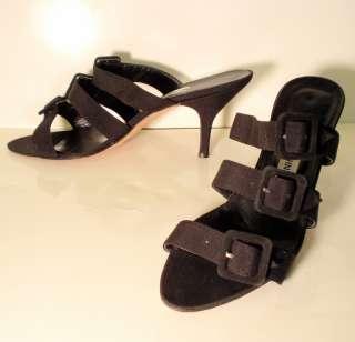 MANOLO BLAHNIK Black High Heel Shoes w/ 3 Buckle Straps