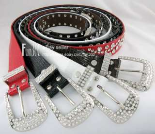 Ladies Black Leather Crystal Bling Western Show Belt
