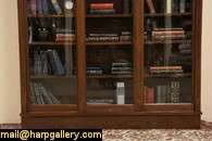 Oak 1900 Antique Bookcase, 3 Sliding Wavy Glass Doors